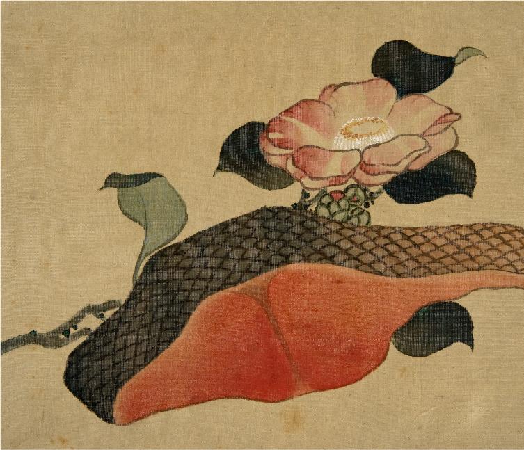 信州小布施・画狂人葛飾北斎肉筆画美術館 北斎館 椿と鮭の切り身