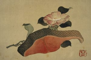 【作品紹介】この秋、鮭がうまい!「椿と鮭の切り身」